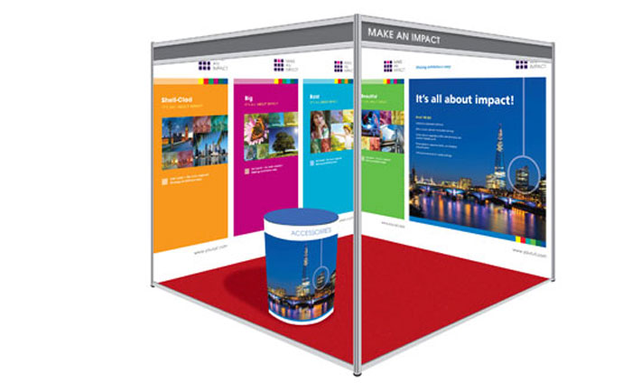 Shell Clad Exhibition Stand : Shell clad scheme display system cipher graphics